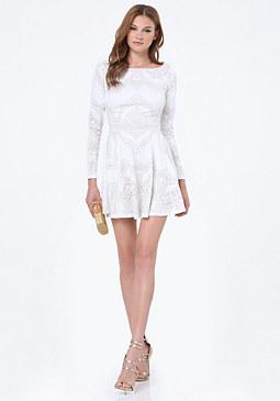 bebe Lace Open Back Dress
