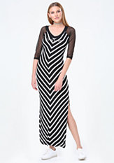 bebe Logo Mesh Yoke Maxi Dress