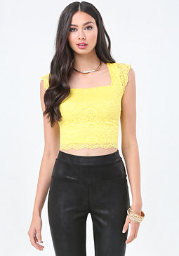 bebe Floral Lace Crop Top