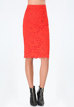 bebe Lace Pencil Skirt