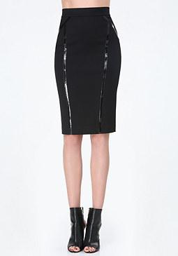 bebe Vinyl Stripe Midi Skirt