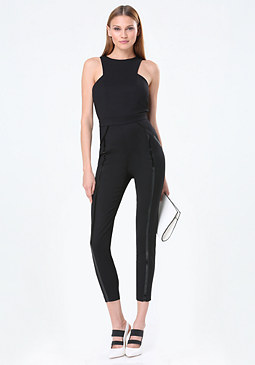 bebe Vinyl Striped Jumpsuit