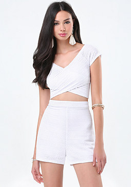 bebe Striped Mesh Wrap Crop Top