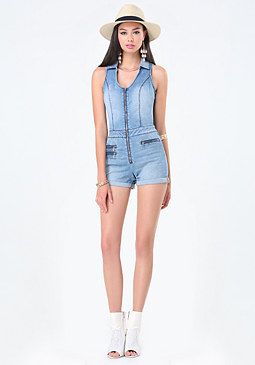 bebe Denim Multi-Zip Romper