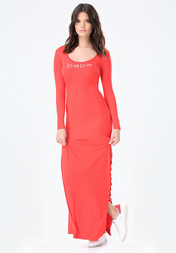 bebe Logo Lace Up Maxi Dress