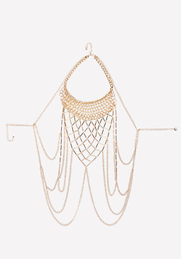bebe Metal Open Weave Body Chain