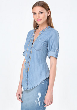 bebe Chain Detail Chambray Shirt