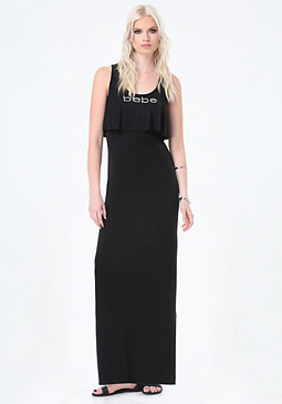 bebe Logo Flutter Maxi Dress