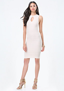 bebe Kara Textured Stripe Dress