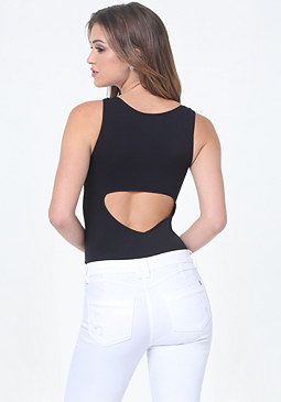 bebe Back Cutout V-Neck Tank