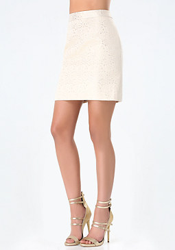 bebe Metallic Jacquard Skirt
