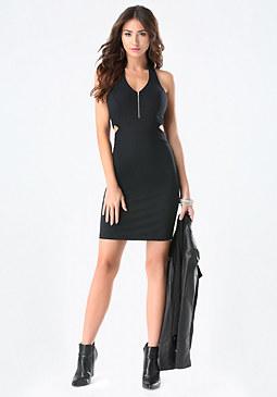 bebe Front Zip Halter Dress