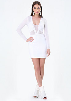 White Mesh Inset Dress