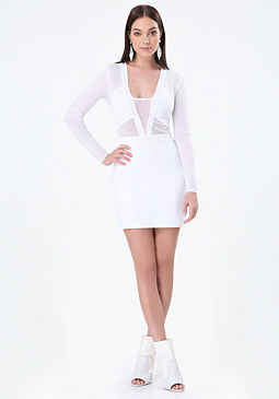 bebe White Mesh Inset Dress