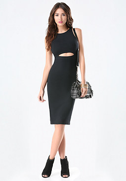 bebe Cutout Midriff Midi Dress