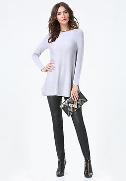 bebe Ballet Neck Tunic Sweater