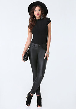 bebe Ribbed Mock Neck Top