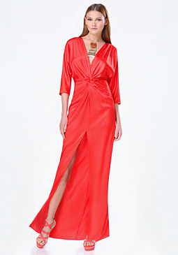 bebe Silk Twist Knot Maxi Dress
