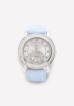 bebe Crystal & Leather Watch
