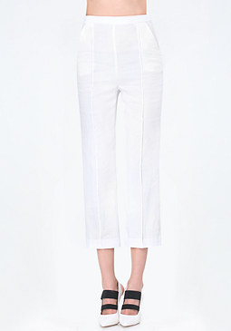 bebe Linen Flared Crop Pants