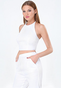 bebe Linen Halter Crop Top