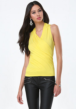 bebe Jersey Sleeveless Wrap Top