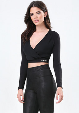 bebe Surplice Wrap Crop Top