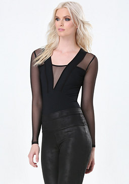bebe Mesh Power Knit Bodysuit