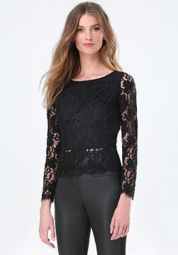 bebe Scallop Lace Open Back Top