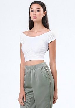 bebe Textured Off Shoulder Top