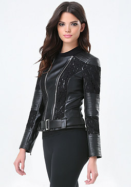 bebe Lace Detail Moto Jacket