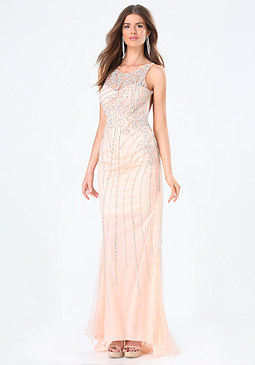 bebe Embellished Backless Gown