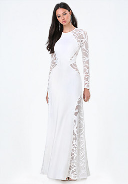 bebe Lace Long Sleeve Gown