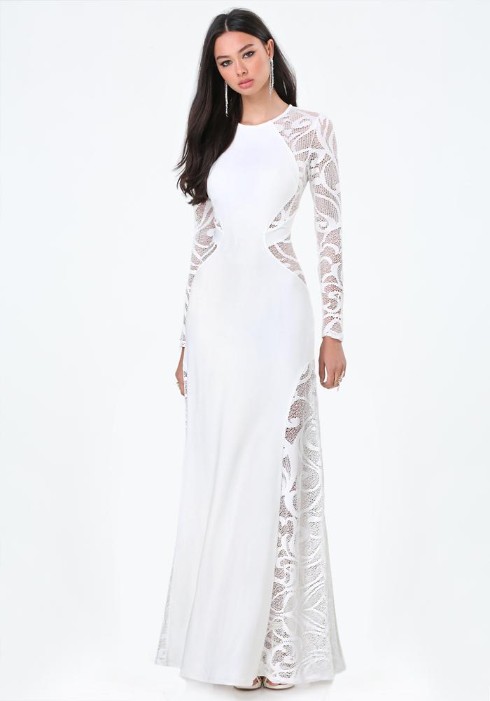 Bebe Long Sleeve Lace Dress