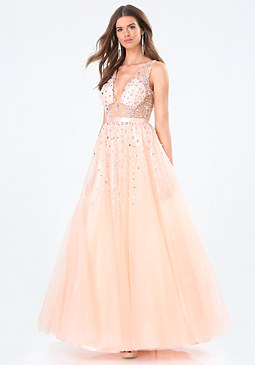 bebe Embellished Deep V Gown