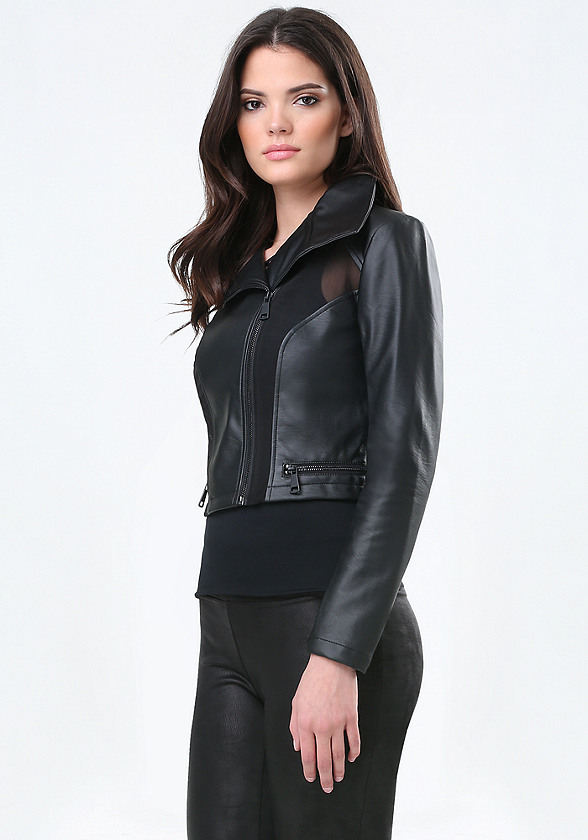 Leather Mesh Jacket 111