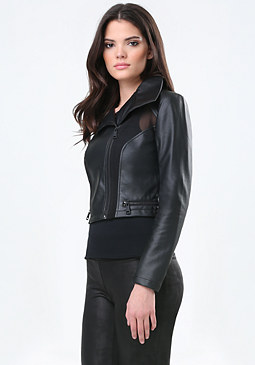 bebe Faux Leather & Mesh Jacket