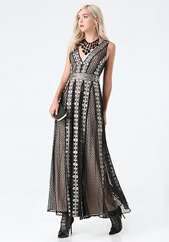 bebe Embroidered Tulle Gown