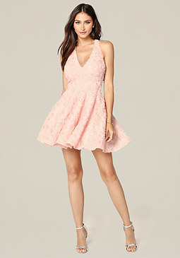 bebe Rosette Sequin Dress