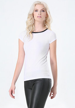 bebe Faux Leather Trim Crew Tee