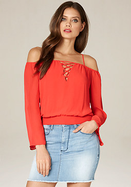 bebe Hannah Off Shoulder Top