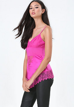 bebe Silk Lace Inset Cami