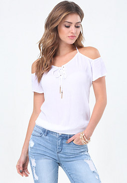 bebe Gina Cold Shoulder Top
