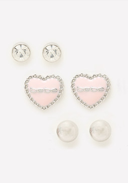 bebe Logo Treasure Earring Set