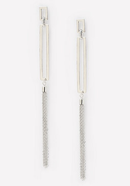 bebe Tassel Geo Duster Earrings