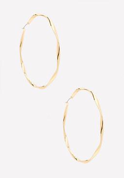 bebe Twisted Metal Hoop Earrings