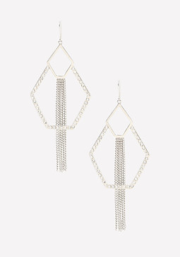 bebe Fringe Geo Earrings