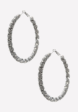 bebe Twisted Mesh Hoop Earrings