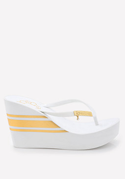 bebe Striped High Flip Flops