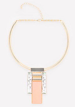 bebe Geo Pendant Collar Necklace